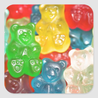 Big gummy bears pattern for big & small,candy,fun square sticker
