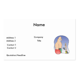big guy vs little guy funny boxing cartoon business cards
