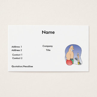 big guy vs little guy funny boxing cartoon business card