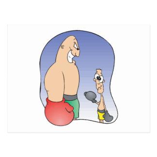 big guy vs little guy funny boxing cartoon postcard