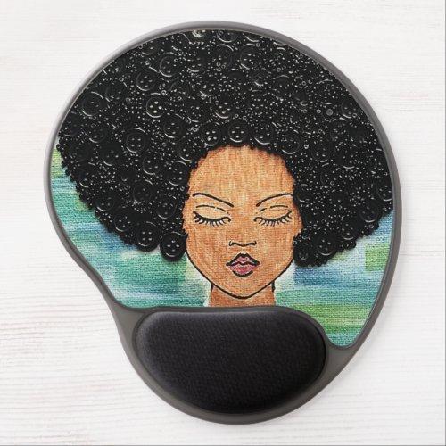 Big Hair Button Art Gel Mouse Pad