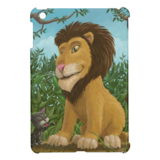 big happy cartoon lion and small cat together iPad mini case