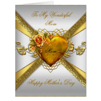 Big Happy Mother's Day Roses Gold Heart Photo 2 Card