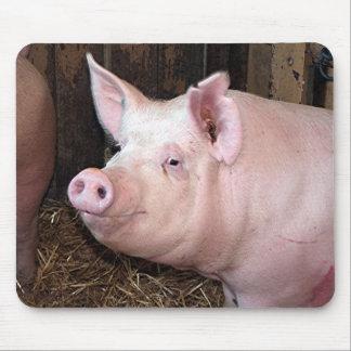 Big happy pink pig mouse pad