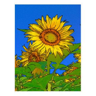 Big Happy Sunflowers Against Bright Blue Sky Postcard