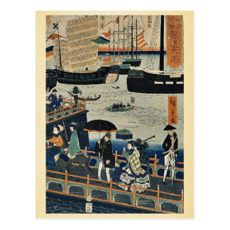 Big harbor in London by  Marutetsu, Ukiyoe Postcard