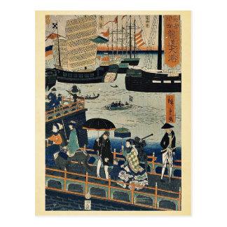 Big harbor in London by  Marutetsu, Ukiyoe Postcard