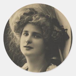 Big Hat Girl - Vintage Photo Round Sticker