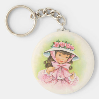 Big Hat With Roses on a Little Girl Basic Round Button Keychain