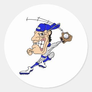Big Head Baseball Man Classic Round Sticker