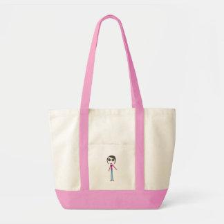 Big Head Button girl Tote Bags