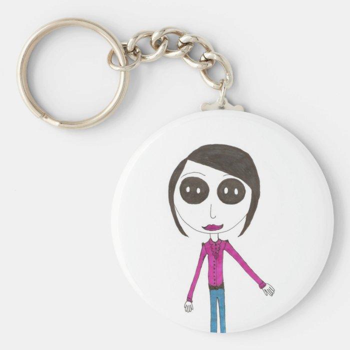 Big Head Button girl Keychain