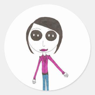Big Head Button girl Stickers
