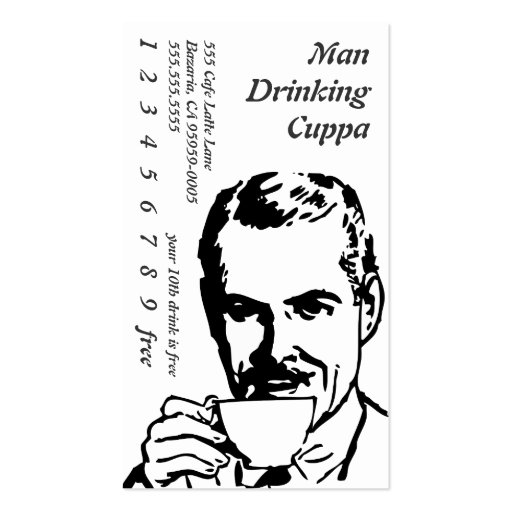 Big Headed Drinking Line Art Morning Cuppa Business Card Templates