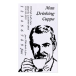 Big Headed Drinking Line Art Morning Cuppa Double-Sided Standard Business Cards (Pack Of 100)