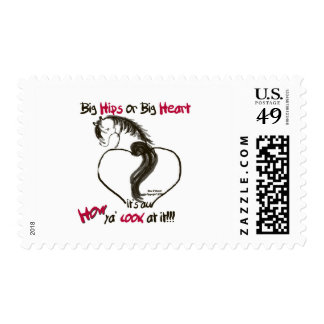 Big Heart Cartoon Horse with Red Postage