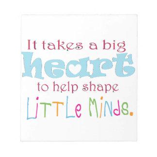 Big Heart Counselor Mentor Teacher Memo Pad