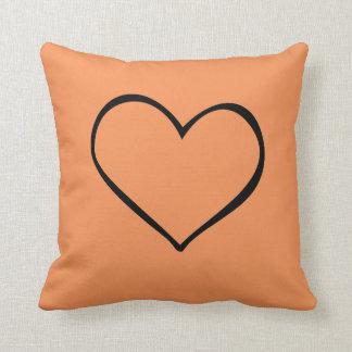Big Heart Orange Pillow