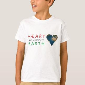 Big Heart shaped Earth anagram T-Shirt