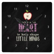 BIg heart Square Wall Clock