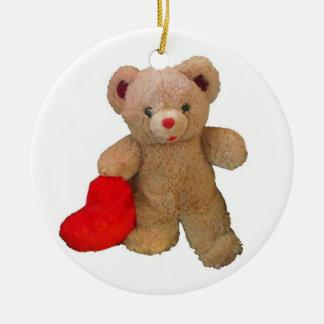 Big Heart Teddy Bear Ceramic Ornament