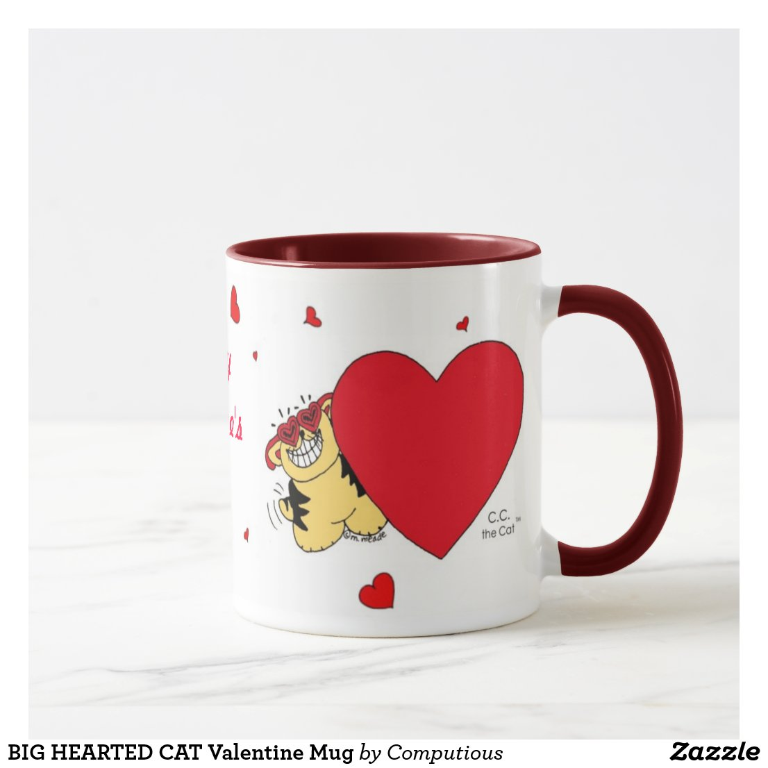 BIG HEARTED CAT Valentine Mug