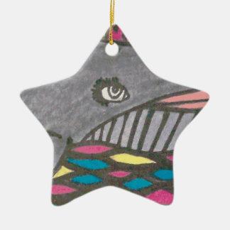 Big Hearted Whale Folk Art Ceramic Ornament