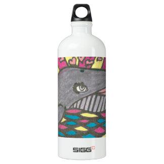 Big Hearted Whale Folk Art Water Bottle