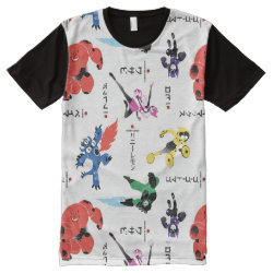 Men's American Apparel All-Over Printed Panel T-Shirt with Big Hero 6 Stylized Pattern design