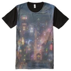 Men's American Apparel All-Over Printed Panel T-Shirt with San Fransokyo Skyline Painting from Big Hero 6 design