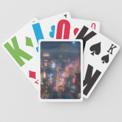 Playing Cards with San Fransokyo Skyline Painting from Big Hero 6 design