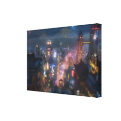 San Fransokyo Skyline Painting from Big Hero 6 Premium Wrapped Canvas