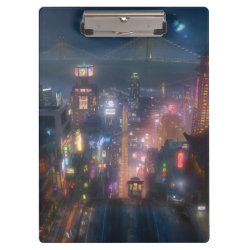 Clipboard with San Fransokyo Skyline Painting from Big Hero 6 design
