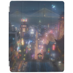 San Fransokyo Skyline Painting from Big Hero 6 iPad 2/3/4 Cover