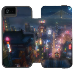Incipio Watson™ iPhone 5/5s Wallet Case with San Fransokyo Skyline Painting from Big Hero 6 design