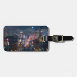 San Fransokyo Skyline Painting from Big Hero 6 Small Luggage Tag with leather strap