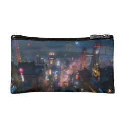 Small Cosmetic Bag with San Fransokyo Skyline Painting from Big Hero 6 design