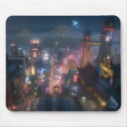 San Fransokyo Skyline Painting from Big Hero 6 Mousepad