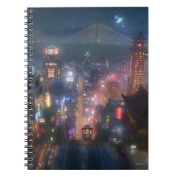 Photo Notebook (6.5' x 8.75', 80 Pages B&W) with San Fransokyo Skyline Painting from Big Hero 6 design