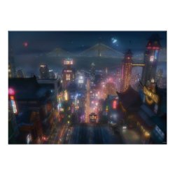San Fransokyo Skyline Painting from Big Hero 6 Matte Poster