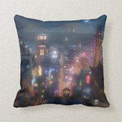 San Fransokyo Skyline Painting from Big Hero 6 Cotton Throw Pillow