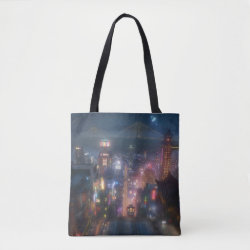 San Fransokyo Skyline Painting from Big Hero 6 All-Over-Print Tote Bag, Medium