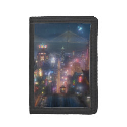 TriFold Nylon Wallet with San Fransokyo Skyline Painting from Big Hero 6 design