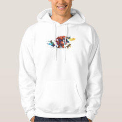 Men's Basic Hooded Sweatshirt with Big Hero 6 Superheroes Together design