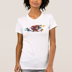 Women's American Apparel Fine Jersey Short Sleeve T-Shirt with Big Hero 6 Superheroes Together design