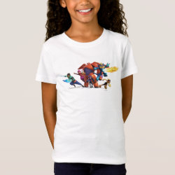 Girls' Fine Jersey T-Shirt with Big Hero 6 Superheroes Together design