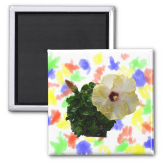 Big Hibiscus Flower with foliage 2 Inch Square Magnet