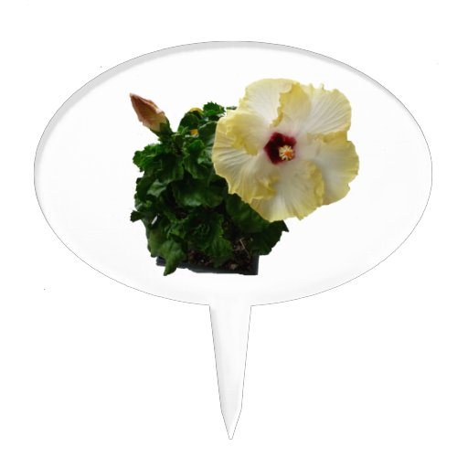 Big Hibiscus Flower with foliage Cake Topper