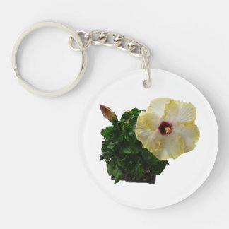 Big Hibiscus Flower with foliage Double-Sided Round Acrylic Keychain