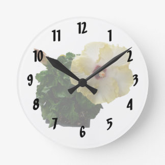 Big Hibiscus Flower with foliage Round Clock